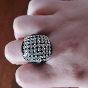 CZ Clear Stones and Black Statement Ring Sz 7
